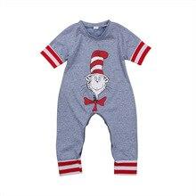 Bayi Bayi Pakaian Anak Grey Striped Sleeve Romper Kartun Cetak Jumpsuit Vogue Bebe Cute Toddler