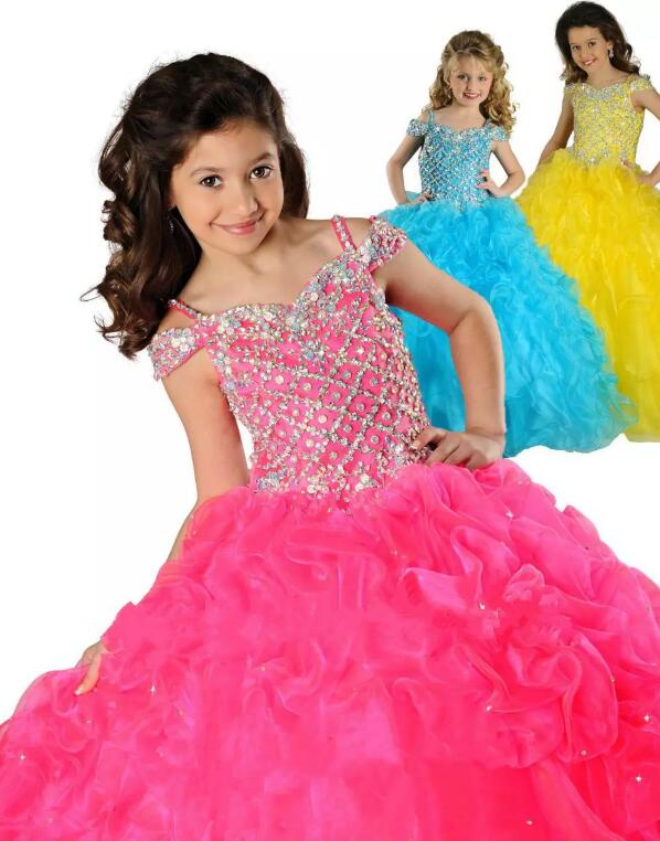 Luxury Sparkly Crystals Beaded Glitz Girls Pageant Gown for Party Ruched Flower Girl Dresses for Wedding Any Size Ball Gown