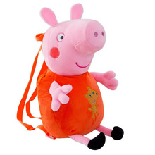 Peppa Pig Cartoon Backpack Baby School Bag Stuffed Doll Plush Toys Children Gifts cute rabbit plush backpack cartoon stuffed plush doll children school bag gifts for kids