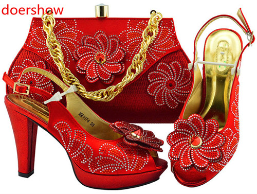 doershow nice-looking Italian Shoes and bag to match good quality New Fashion red color shoes and bag set For lady!HH1-23doershow nice-looking Italian Shoes and bag to match good quality New Fashion red color shoes and bag set For lady!HH1-23