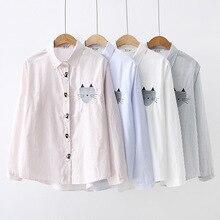 1e84b0567 KYQIAO las mujeres camisa de dibujos animados 2019 mori niñas otoño  primavera estilo japonés kawaii azul Rosa blanco gris ratón .