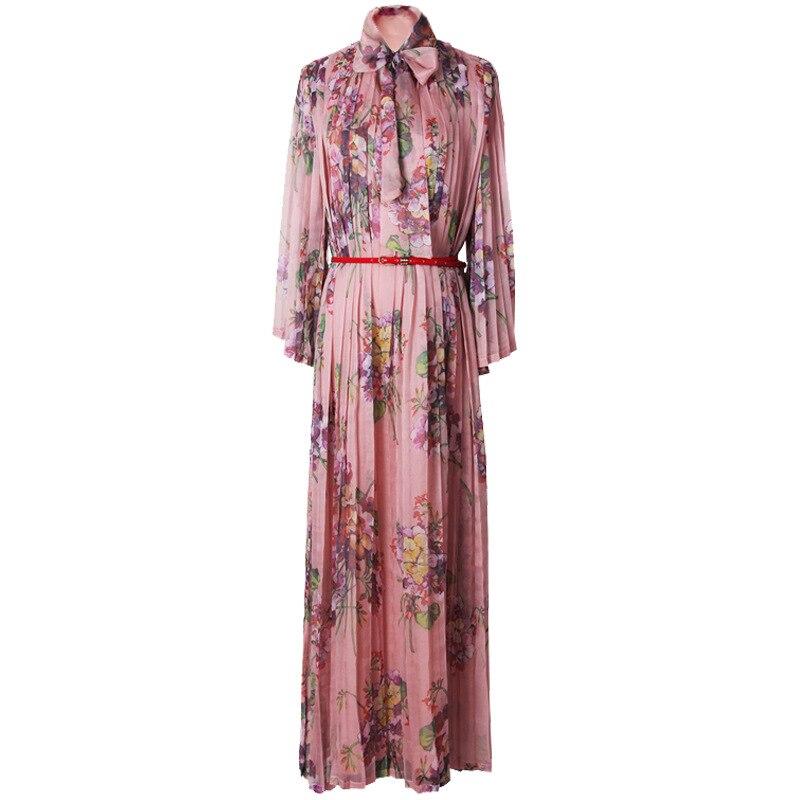 Haute qualité femme robe 2019 été mode plissée Maxi robe Floral imprimé arc en mousseline de soie à manches longues robe vestidos de fiesta