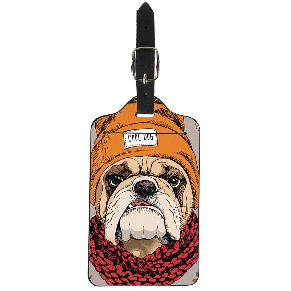 ELVISWORD Прохладный Мопсы принт дорожные аксессуары Животные Стиль Чемодан тег/Label чемодан сумки охватывает творческие подарки