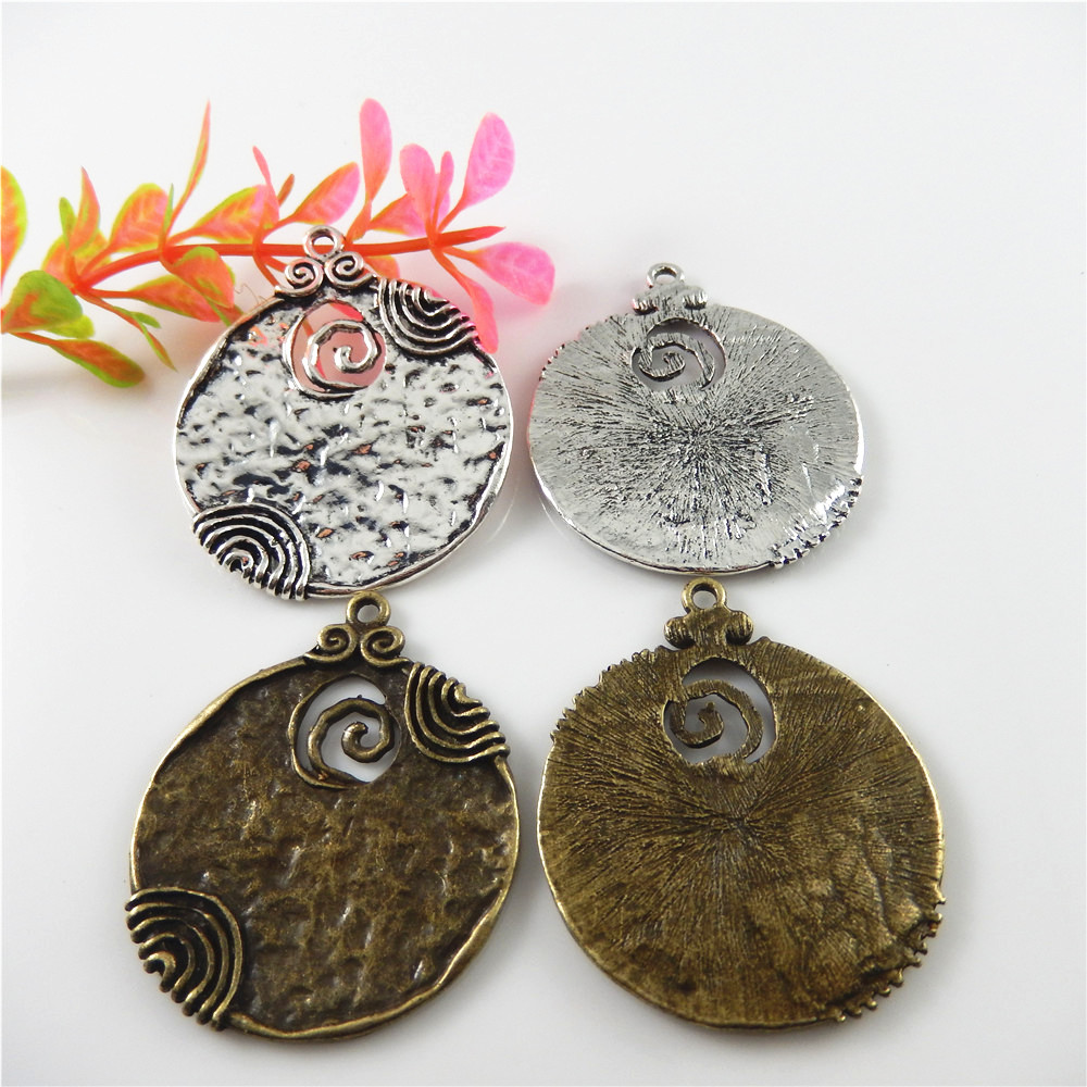 Julie Wang 1PCS Antique Bronze/Silver Tone Round Alloy Charm Pendants Crafts Jewelry Accessory Finding Charms 48*45mm