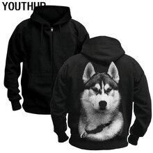 YOUTHUP זכר 3d נים מגניב כלב הדפסת האסקי רוכסן סלעית נים שחור מעיל גברים מעיל ארוך שרוול בתוספת גודל Streetwear חדש