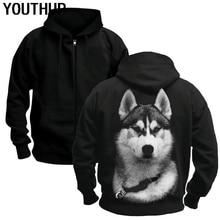 YOUTHUP Male 3d Hoodies Cool Dog Print Husky Zipper Hooded Hoodies Black Coat Men Jacket Long Sleeve Plus Size Streetwear New