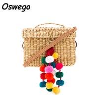 Colorful Ball Decoration Women Summer Beach Bag Cover Basket Shape Straw Bag For Travel Handmade Rattan Bag sac paille