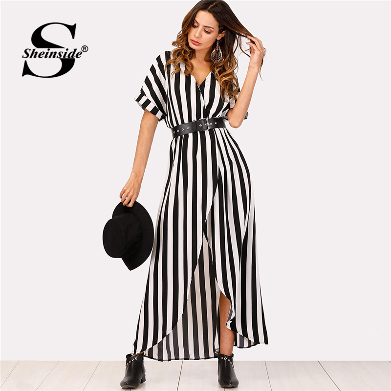 Sheinside Self Tie Waist Striped Dress 2018 Summer Asymmetrical Split Front Maxi Dress Women Short Sleeve V Neck Beach Dress