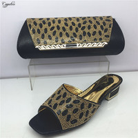 New coming black African slipper with bag set nice shoes and handbag set with rhinestones GY21, heel height 4cm