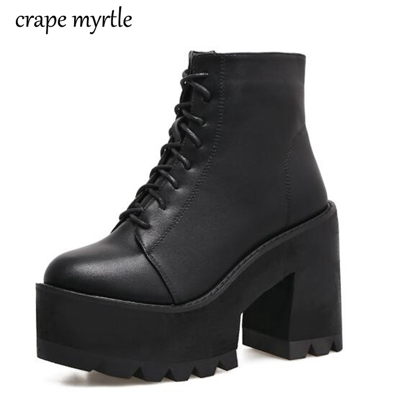 lace up Boots 2018 Fashion Thick Heel Ankle Boots Women High Heels Autumn Winter Woman Shoes black boots platform shoes YMA62 mcckle women s lace up rivets buckle ankle martin boots ladies fashion thick heel platform high quality leather autumn shoes