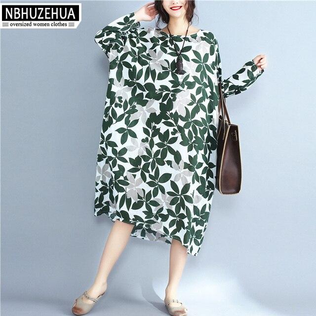 f8b74ea047c7b US $33.2  vestido longo 4XL 5XL 6XL Dresses Women 2017 Autumn Tree Leaf  Printing Cotton And Linen Long Dress Big Size QZ1642-in Underwear from  Mother ...