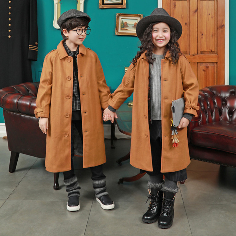 MAGGIE'S WALKER 2017 Kids Winter Outerwear Brand Children England Style Long Sleeve Wool Coat Boys Girls Casual Windproof Coat