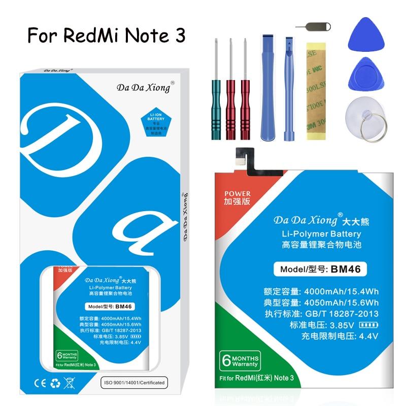 Bateria original da xiong para xiaomi redmi nota 3 bm46 para redmi 3 bm47 nota 2 bm45 para xiaomi 5S bm36 baterias de substituição