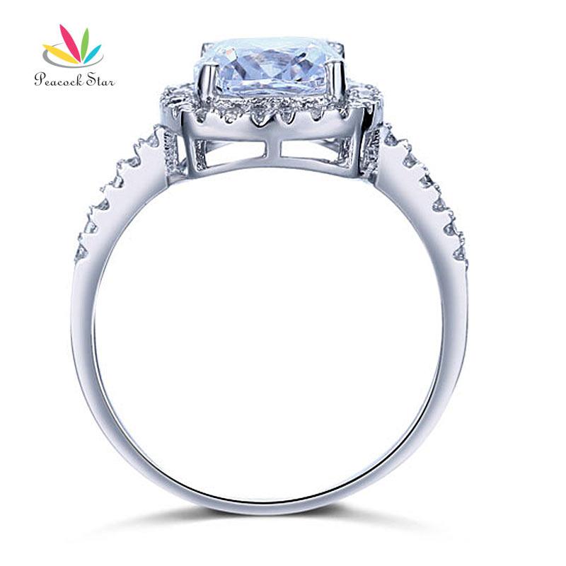 Peacock Star Solid 925 Sterling Silver Bridal Wedding Anniversary Engagement Ring 3 Carat Cushion Cut CFR8138