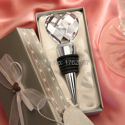 Hot sell heart shaped crystal red wine bottle stopper wedding favor 20pcs/lot silver gift box