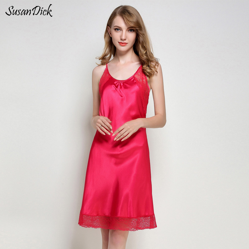 a7404709e8 SusanDick Fashion Women Sleepshirt Hollow Strap Lace Satin Sleepwear Ladies  Summer Ice Silk Night Dress Sexy