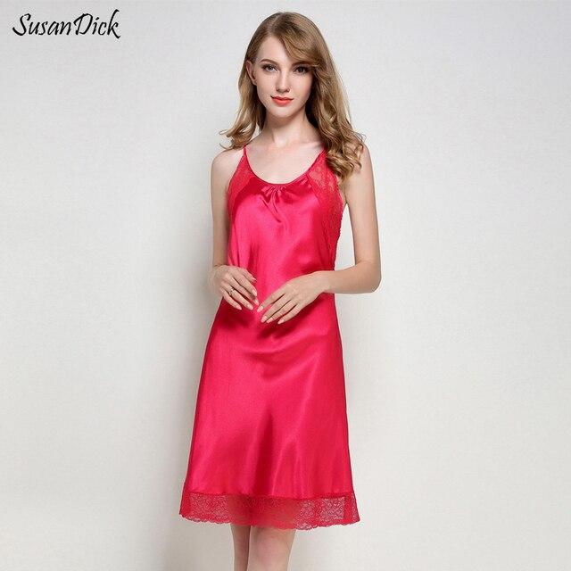 be3663731d SusanDick Fashion Women Sleepshirt Hollow Strap Lace Satin Sleepwear Ladies Summer  Ice Silk Night Dress Sexy Lingerie Nightwear