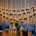 5 M 20 LED Clipe Luzes Da Corda Moda Fotos Da Bateria LED de Natal Luz Fada Decoração do Casamento Do Feriado de Ano Novo Em Casa bateria