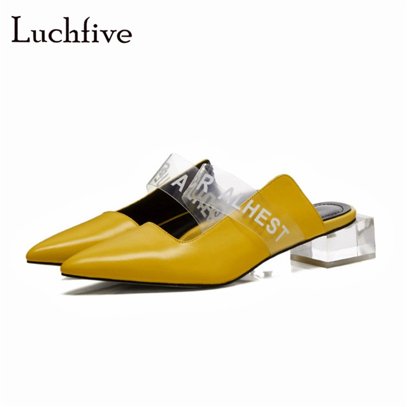 Transparent belt pointed toe clear heels slippers women genuine leather slip on casual shoes black yellow summer slides women-in Slippers from Shoes    1