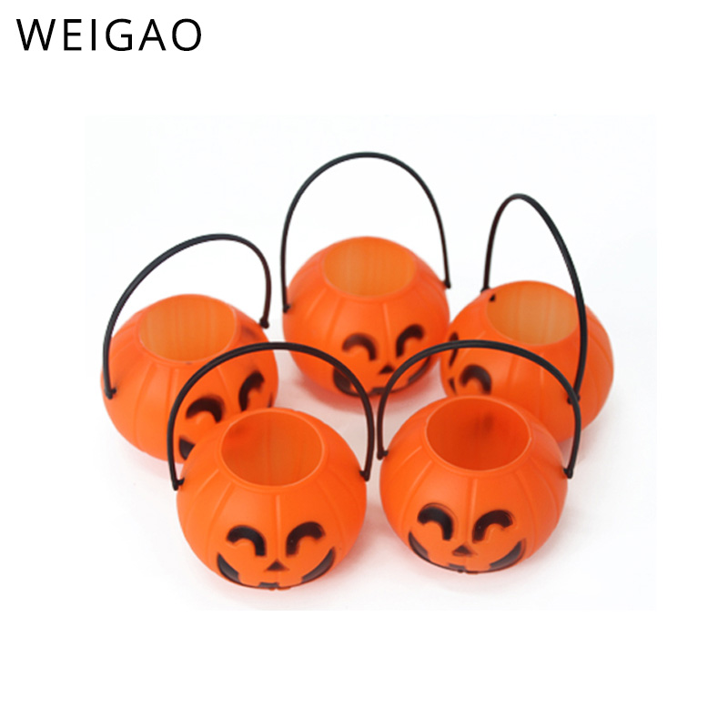 Orange Buckets Candy-Bags Sweet-Holders Pumpkin Halloween Treat Plastic Toddler Mini