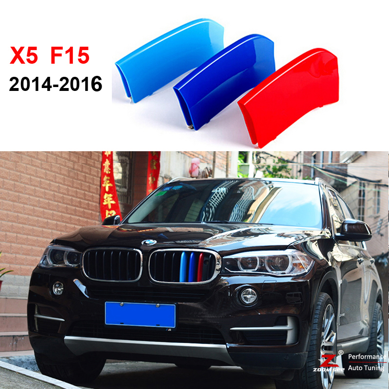 3D M Styling Front Grille Trim motorsport Strips grill Cover performance Stickers for 2014 2015 2016 BMW X5 F15 motorsport manager [pc jewel]