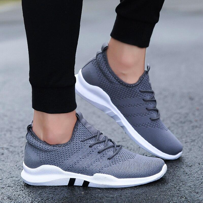 Весенние мужские туфли для взрослых дышащие удобные Кружево на шнуровке мужская повседневная Обувь модный бренд черный серый белый Обувь плюс кроссовки