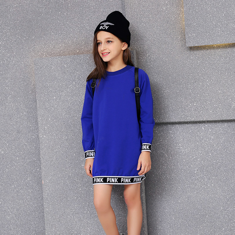 ФОТО Kids Dresses For Girls Limited Solid The Girl Dress Autumn 120-150cm A A-line Long Sleeved Child Loose Cotton New Tide