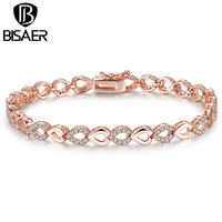 BAMOER Exquisite 18K Rose Gold Plated Heart Chain Link Bracelet For Women Shining AAA Cubic Zircon