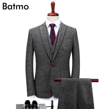 Batmo 2019 new arrival High quality wool gray thick causal men's suis,wedding dress suit men,men's business suits,plus-size