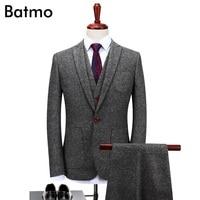 Batmo 2017 new arrival High quality wool gray thick causal men's suis,wedding dress suit men,men's business suits,plus size