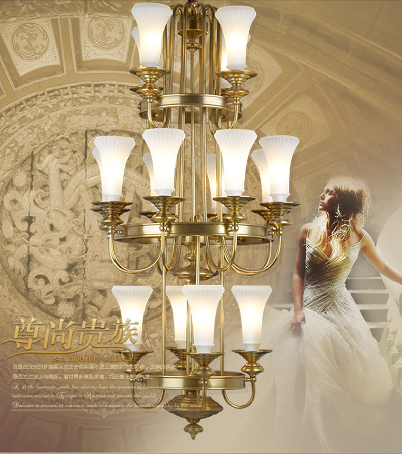 large glass lampshade gold brass chandelier led lampara for church - Indoor Lighting - Photo 3