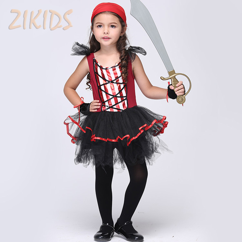 2017 Halloween Pirates Cosplay Costume Kids Girls Clothing Sets Girl Masquerade Carnival Party Dress Suits (Dress+Scarf+Gloves) аксессуары для косплея cosplay