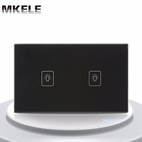 Touch Switch 2 Gang 1 Way Black Crystal Glass Panel US Standard Wall Socket For Lamp