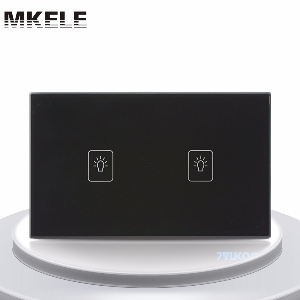 Sensor Switch Touch Switch 2 Gang 1 Way Black Crystal Glass panel US Standard wall socket for lamp smart home us au wall touch switch white crystal glass panel 1 gang 1 way power light wall touch switch used for led waterproof