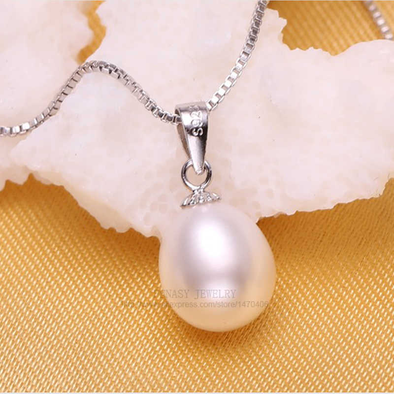 FENASY Pearl Jewelry Natural Freshwater Pearl Necklace For Women 925 Sterling Silver Chain Necklace Pendant Jewelry Box