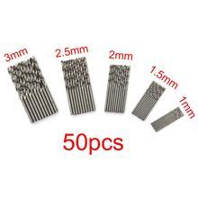 цена на 50 PCS Twist Drill Bit 1 / 1.5 / 2 / 2.5 / 3mm Drill Bits High Carbon Steel Wood Drills For Wood Plastic Aluminum Power Tool Set