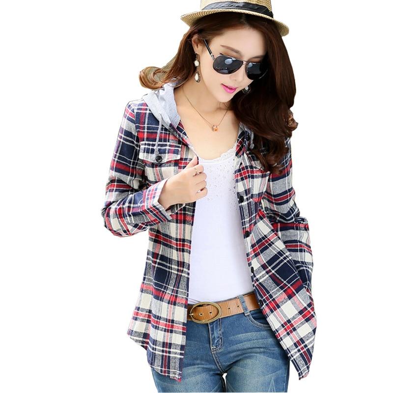 New autumn women Shirt hooded shirt Slim plaid shirt female long-sleeved shirt Women Tops Blouse Warm Blause DS114