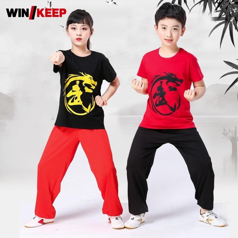 Kids Dragon Printed Tai Chi Clothing Summer Short Sleeve Training Kung Fu Uniform Boys Girls Martial Arts Wushu Tracksuit Sets