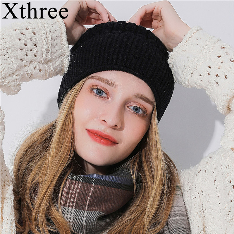 Xthree Winter   Beanie   Hat For Women Girl 's   Skullies     Beanies   Glittering Rhinestone Knitted Gorro Wool Female Hats