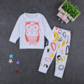 Kids Cartoon Owl short/long sleeved T-shirt Tops+Geometric Pants 2pcs Set Baby Casual pajamas Outfits Babiy Suits E1026