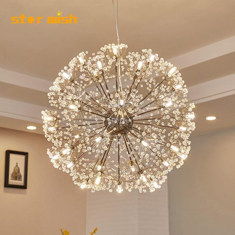 Postmodern crystal chandelier round ball dandelion hanging light fixtur for bedroom dining room model home decoration 110v 220v