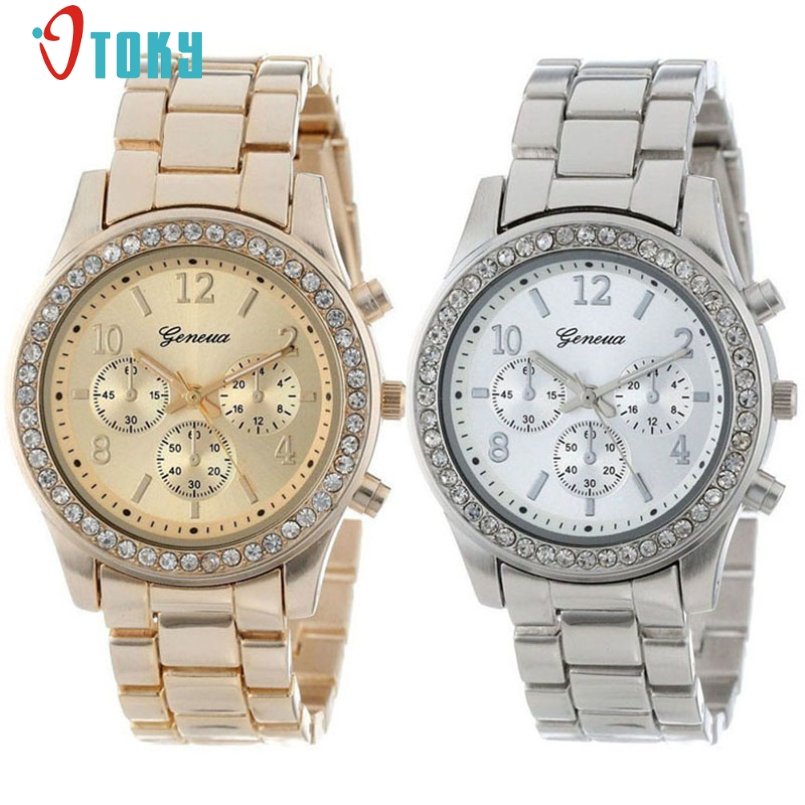 Excellent Quality 2Pcs Watch Faux Chronograph Quartz Plated Classic Round Ladies Women Crystals Watches Valentines Gift Jan-6