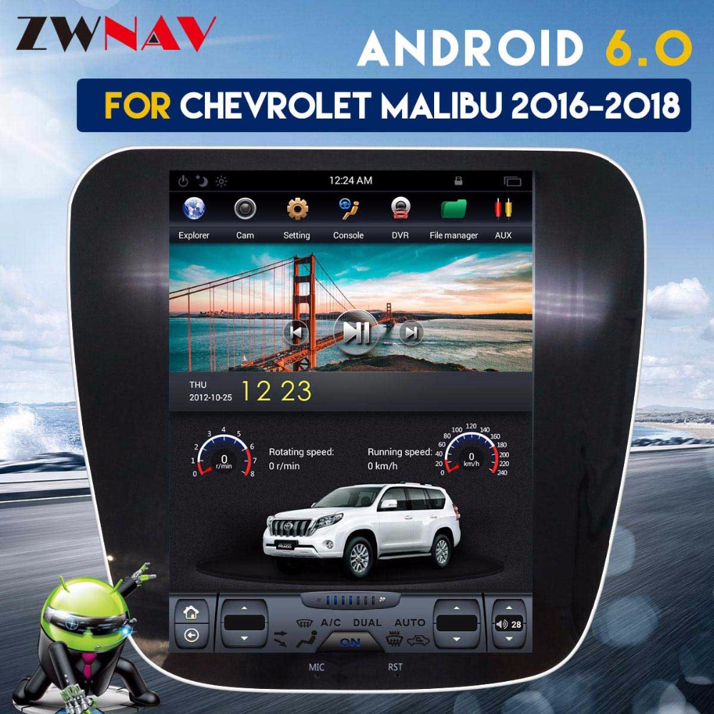 Écran IPS ZWNVA Tesla pour Chevrolet Malibu 2015 2016 2017 2018 système Android Radio voiture GPS Navigation sans lecteur DVD