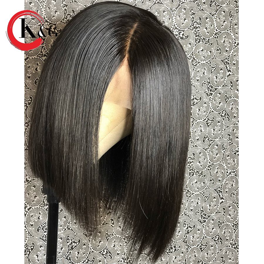 KUNGANG Short Bob Lace Front Human Hair Wigs For Women With Full Ends Middle Part Brazilian