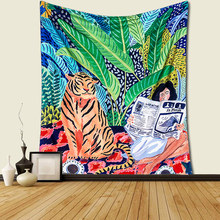 Nordic creative tiger girl background cloth tapestry macrame wall hanging mandala Blanket decoration