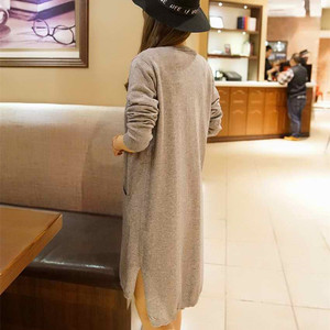 Image 3 - YUNSHUCLOSET 2020 Bán Thời Trang Dạ Cashmere Cao Cấp Dài Cardigan Nữ Cổ Chữ V Có Thiết Kế Mới Hàng Chính Hãng Giá Rẻ Đồng Màu
