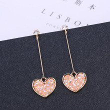 S925 Japanese and Korean Girls Love Pink Earrings Ear Temperament Female Long Paragraph Super Fairy
