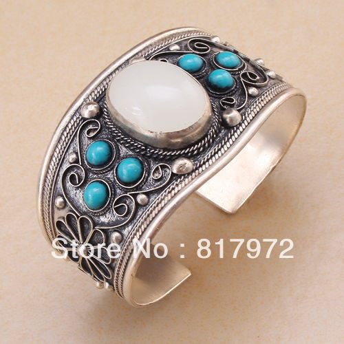 Retro blue stone howlite whiet opal bead tibet silver beaded cuff bracelet Adjustable Party Gift &6YB00030