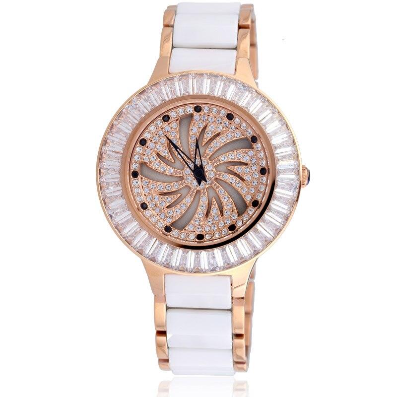 New Full Diamond Female Quartz Watch Woman Ceramic Bracelet Rotating Watch Ladies Waterproof Clock Top Brand Luxury Reloj Mujer цена 2017