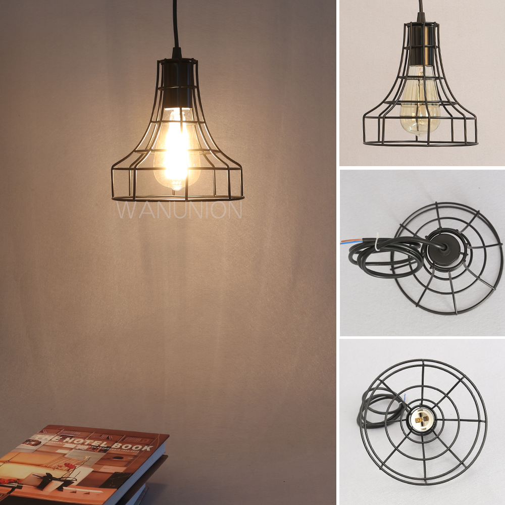 Retro Vintage Edison Pendant Light Bulb Iron Guard Wire Cage Ceiling Hanging Light Fitting Bar Cafe Lampshade DIY Lamp Base new loft vintage iron pendant light industrial lighting glass guard design bar cafe restaurant cage pendant lamp hanging lights